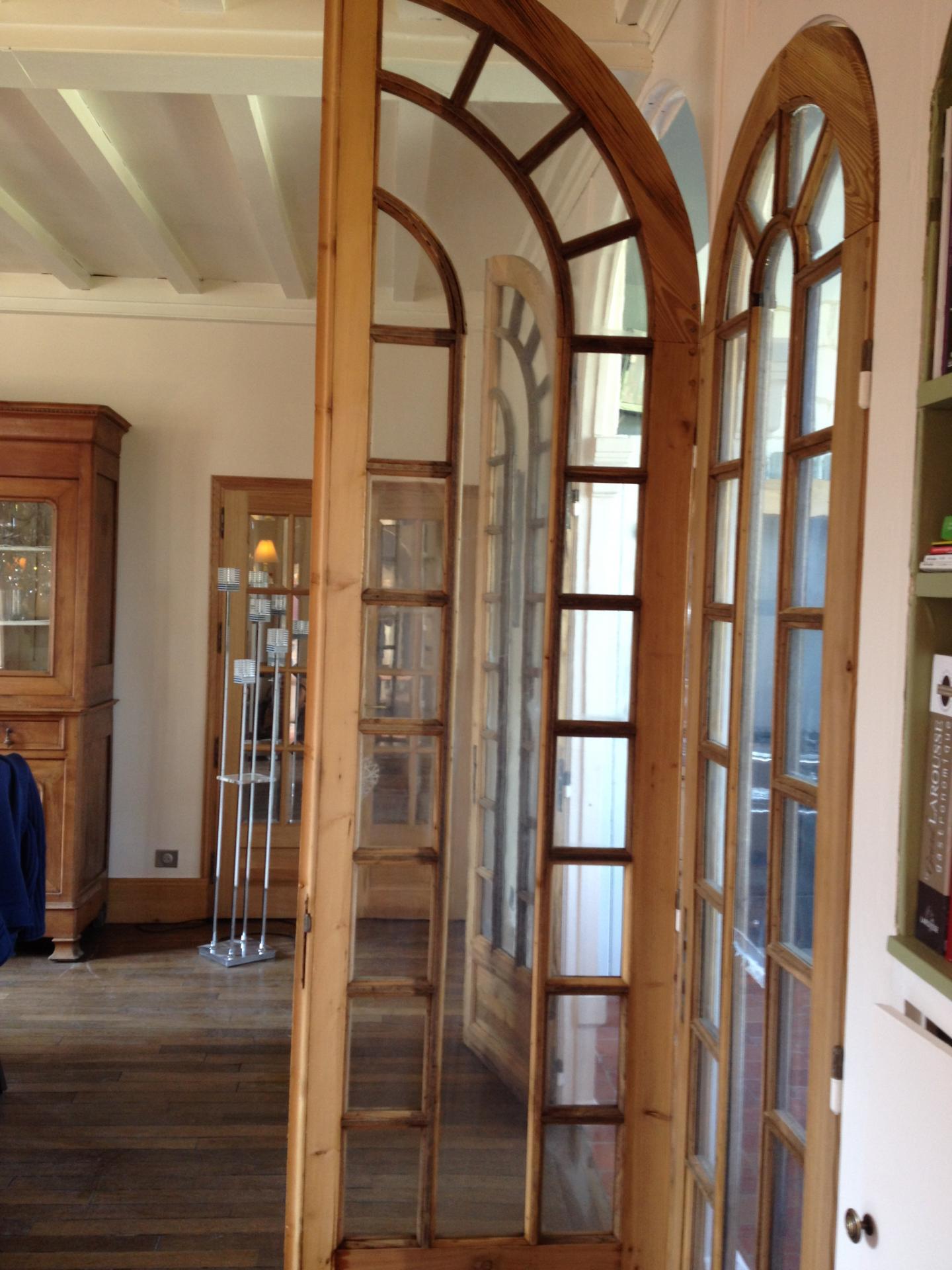 porte vitrée décapée